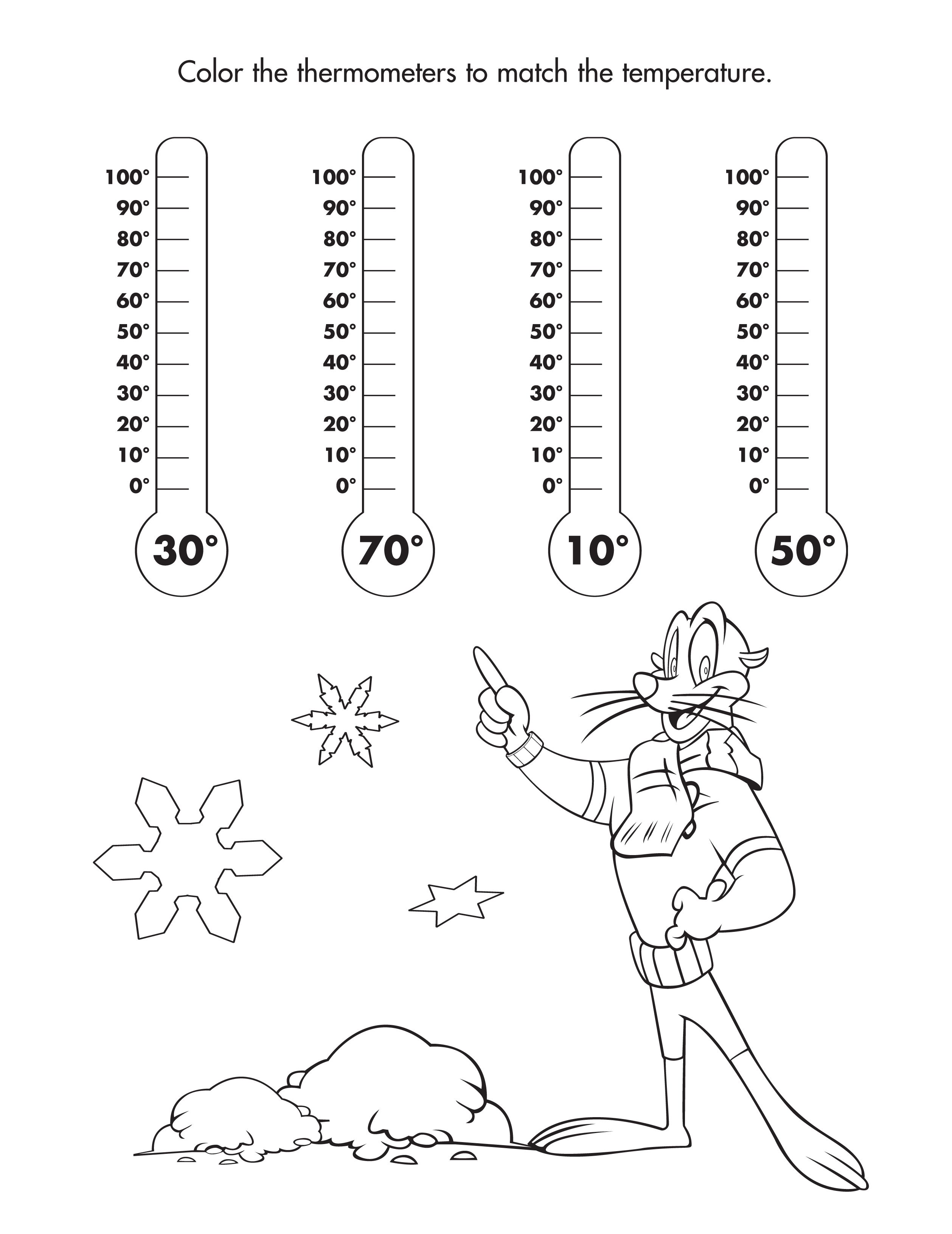Color the thermometers with the correct temperature freeprintable coloring childsafety