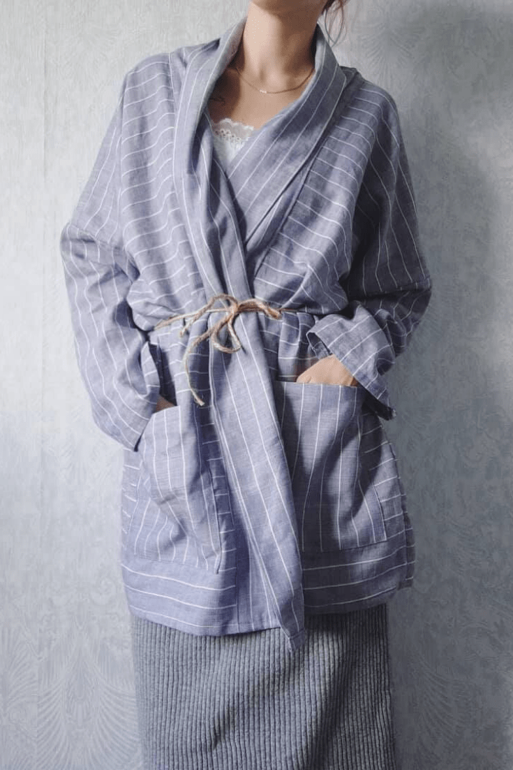 Haori oversized style short robe | Handmade Fashion Outfits by Le cafe de maman #summervacationstyle