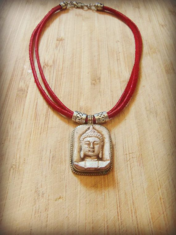 Tribal Buddha Pendant Necklace with Red Suede by sweetfreedomshop