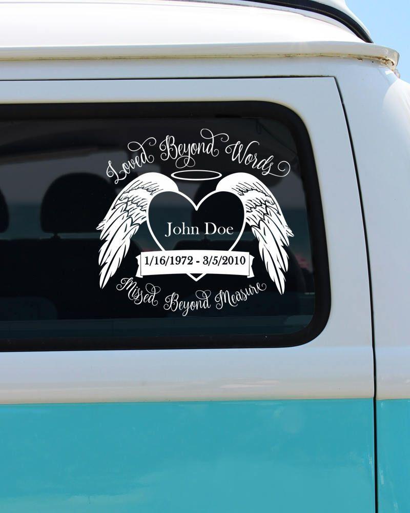 Loved beyond words missed beyond measure car decal memorial car decal loved beyond words love decal custom sticker by brokegirlgraphics on etsy