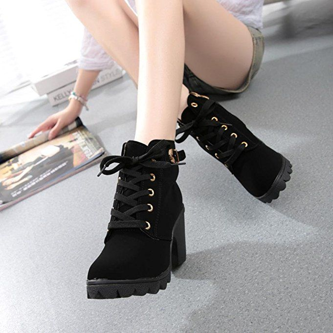 b5481848fce11 Ladies Dress Shoes,Hemlock Womens High Heel Ankle Boots Shoes Lace ...
