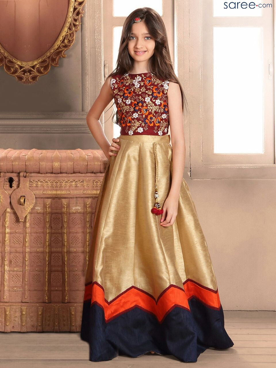 Maroon And Cream Bangalore Silk Gown With Embroidery Work Kids