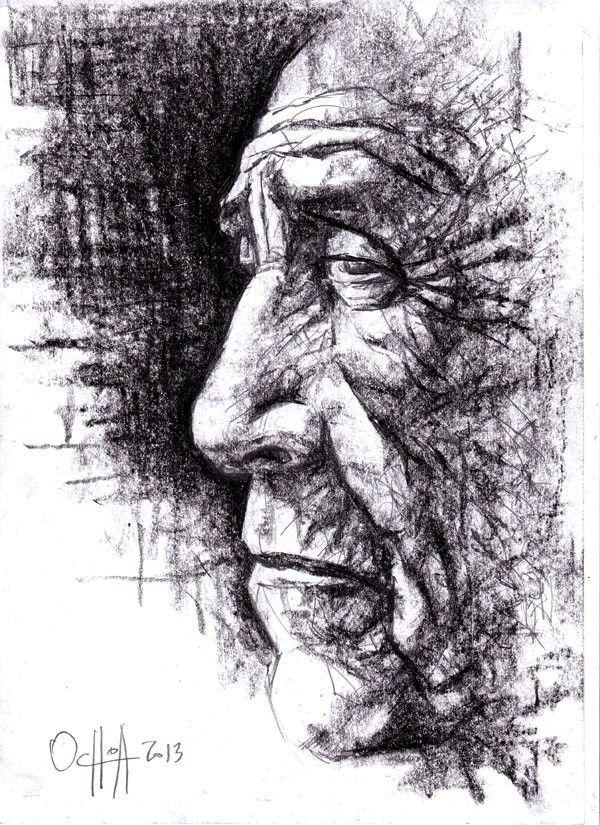 Hombre Andino Rostro De Anciano Lapiz Y Carboncillo 2013 Percy Ochoa Dibujos Arte Rostros