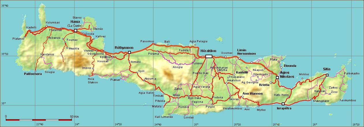 Carte Crete Heraklion.Carte Routiere De Crete Distances Sites Bons Plans