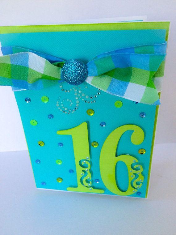 Handmade Sweet 16 Birthday Card Girls 16th Birthday Card Teen Girl