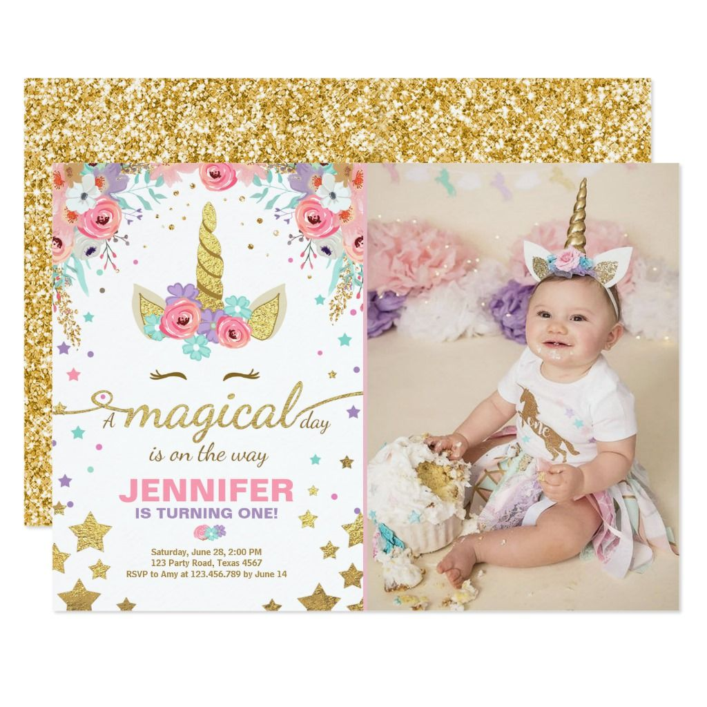 Unicorn Birthday Invitation Pink Gold Magical - Unicorn birthday invitations, Unicorn birthday, Birthday invitations, Unicorn invitations, Unicorn birthday party invitation, Pink invitations - pink  Gender unisex  Age Group adult