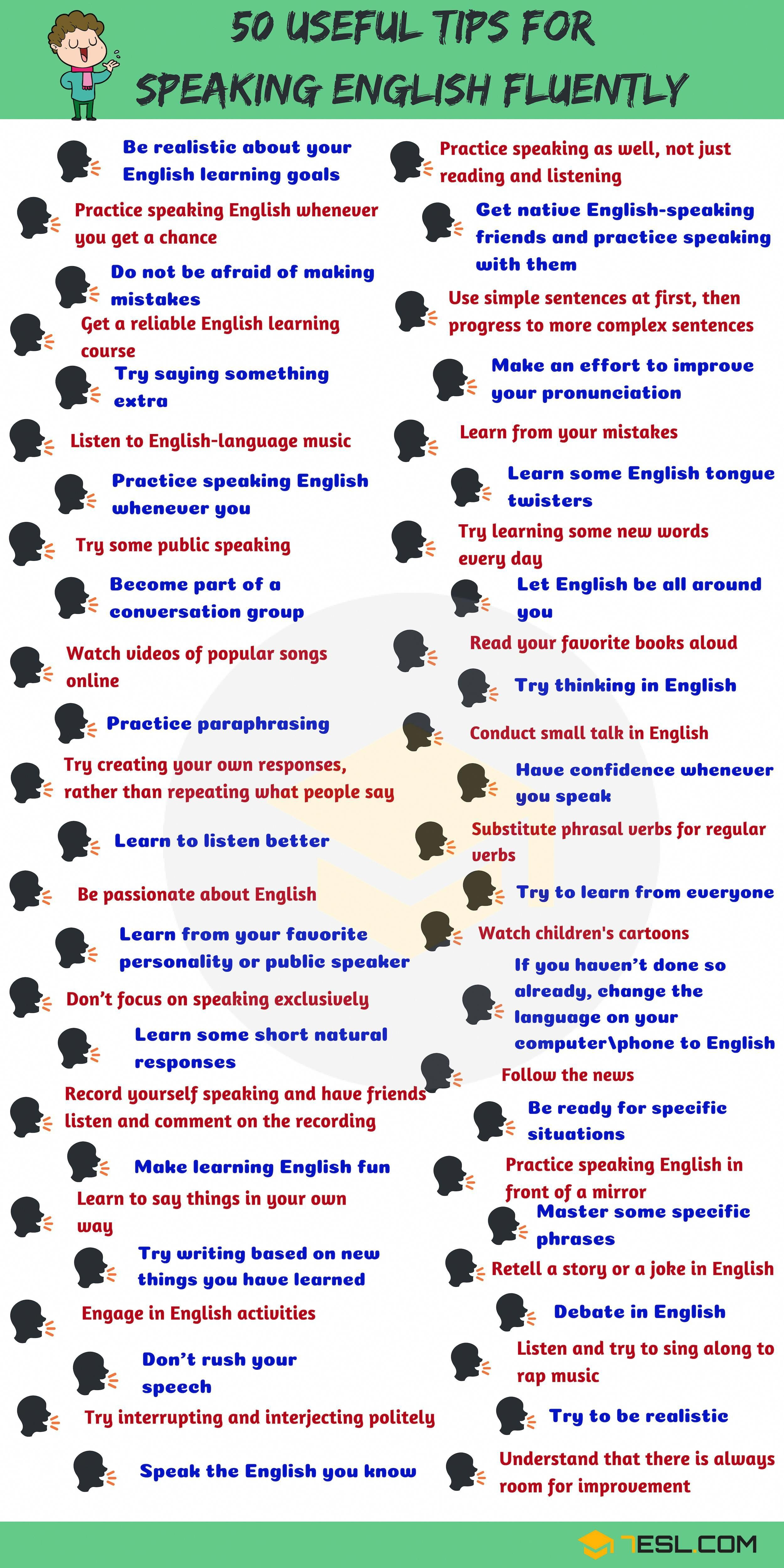 50 Simple Tips For Speaking English Fluently 7 E S L Onlineschools Webcourses Coursesites Onlin In 2020 Speak English Fluently Learn English Speaking Fluent English