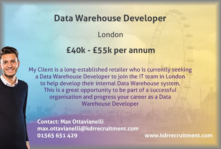 New #Job: Data Warehouse Developer needed in #London. To find out ...