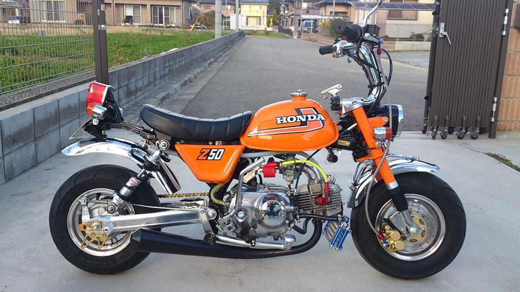 Orange Z50 J1 Lowrider Mini Bike Cafe Racer Honda Tracker Motorcycle
