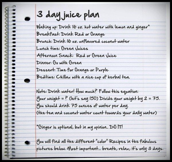 A Fun Easy Plan With Juice Recipes Provided Based On Colors