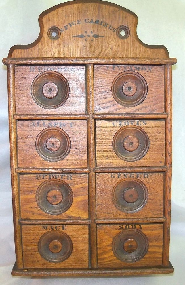 Old Antique Oak Wood Stencil Wall Mount 8 Drawer Spice Cabinet Box ...