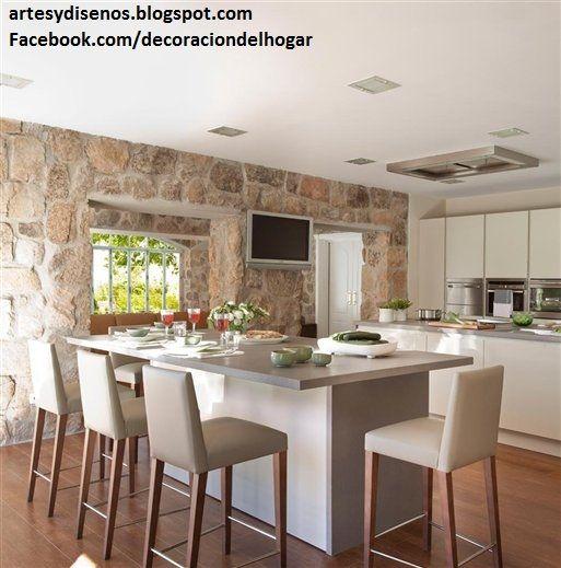 cocinas con acabados de piedra by