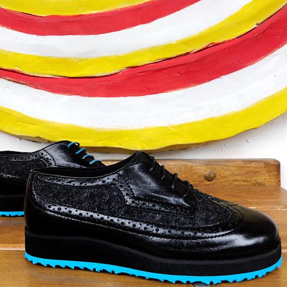a660318e71219 Womens oxford shoes size 7 Blue / black leather felt handmade ...