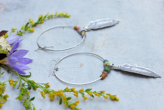 Harvest Hoops Etched Sterling Silver and Antique by RosyRevolver