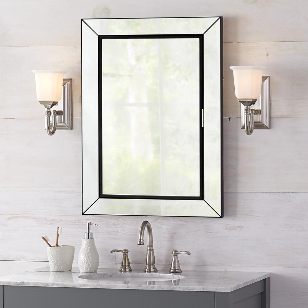 Home Decorators Collection 23 1 2 In W X 33 1 2 In H Fog Free Framed Recessed Or Sur Bathroom Medicine Cabinet Mirror Modern Bathroom Mirrors Bathroom Mirror