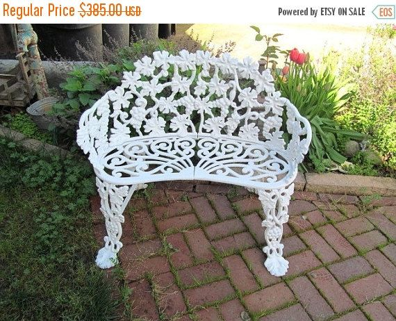 Mid Century Cast Iron Garden Bench, White Grape Vine