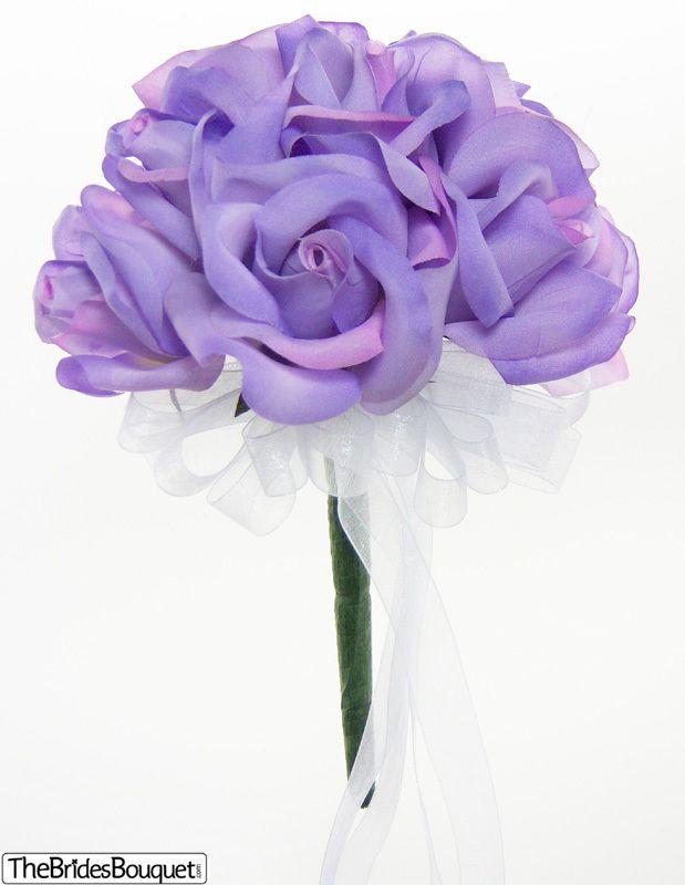 Lavendar Rose Silk Bridal Bouquet   1 Dozen Silk Roses
