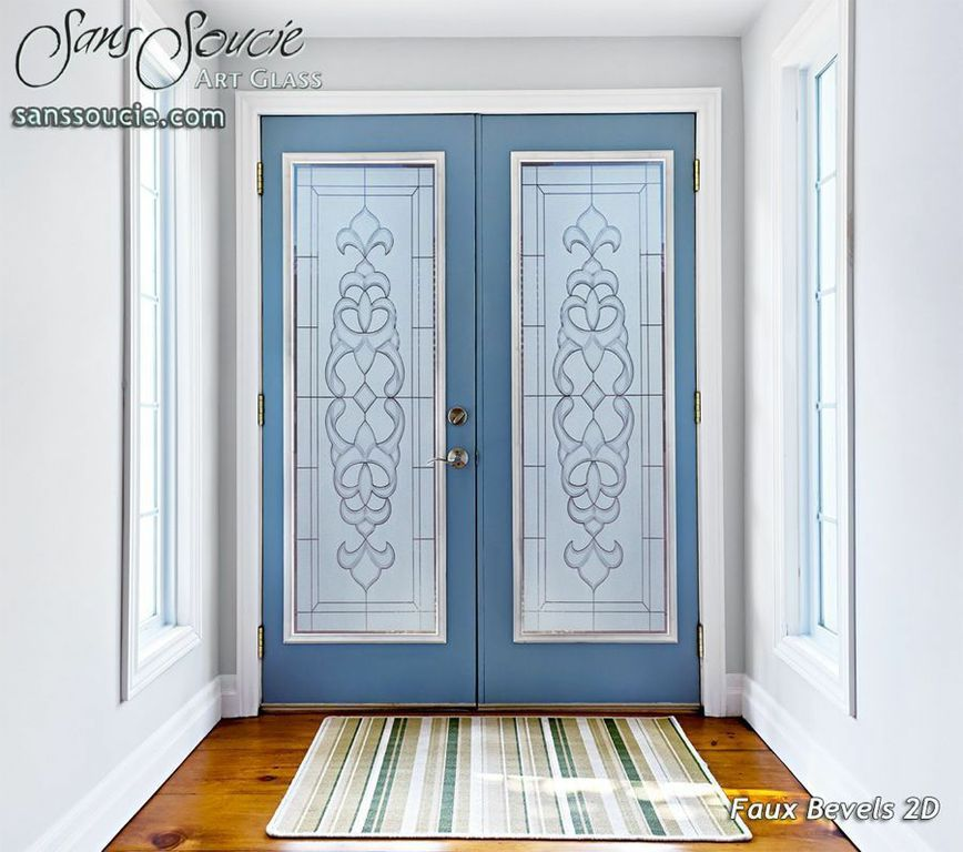 Faux Bevels 2d Pair Glass Etched Entry Doors