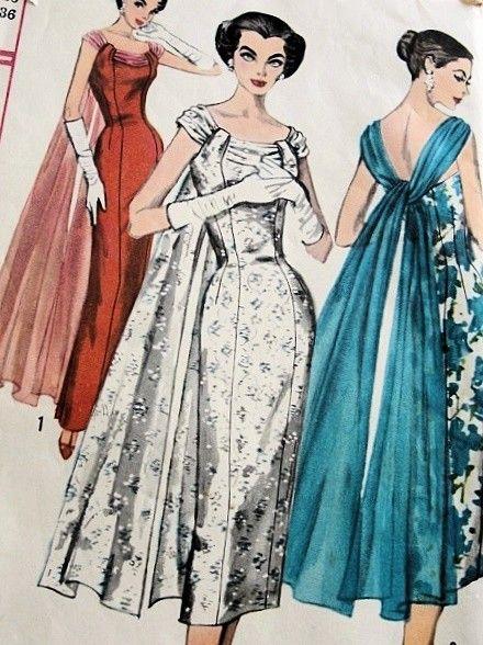 1950s Lovely Slim Evening Dress Pattern Graceful Floating