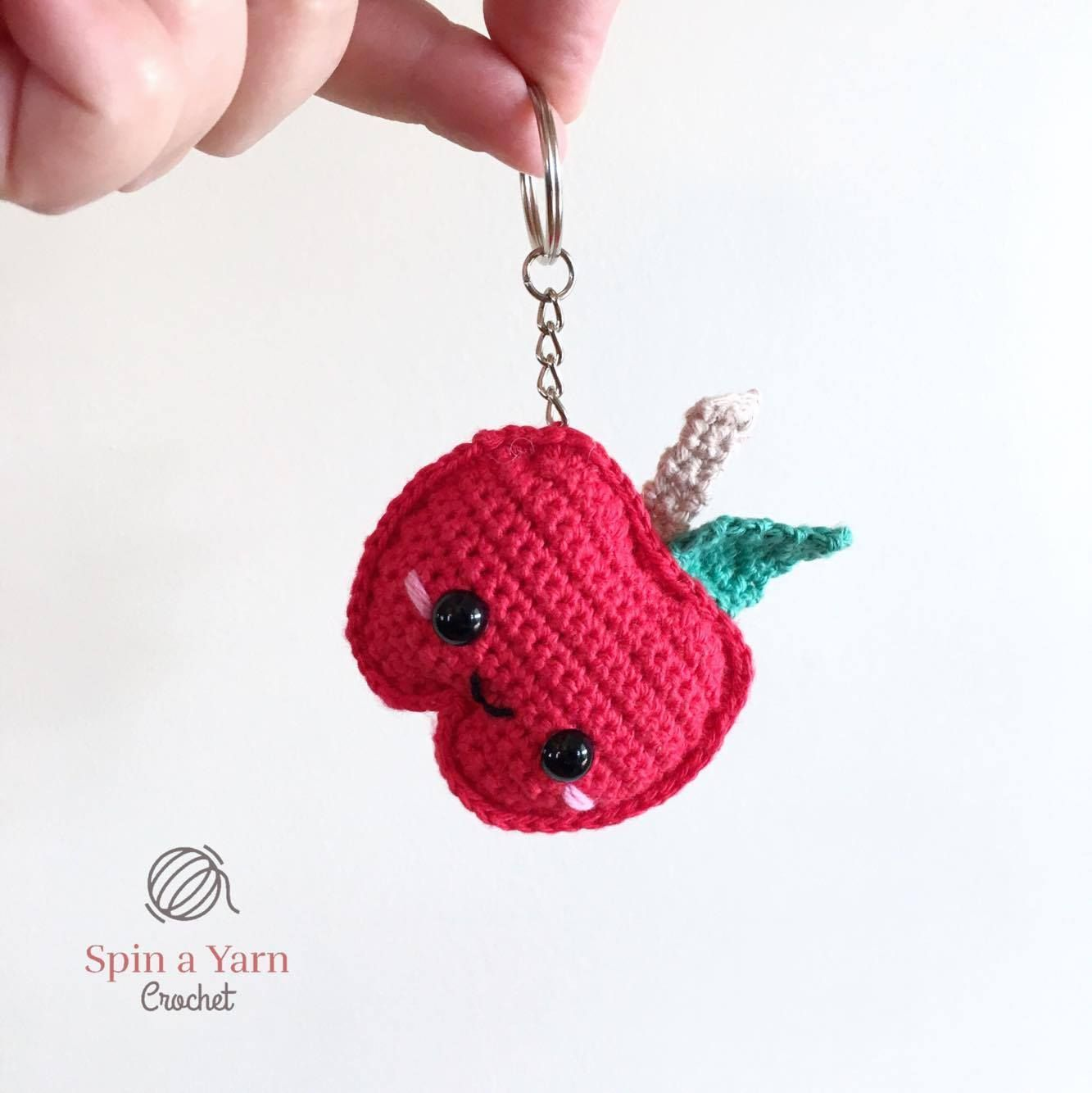 Kawaii Apple Keychain Free Crochet Pattern | Häkeln