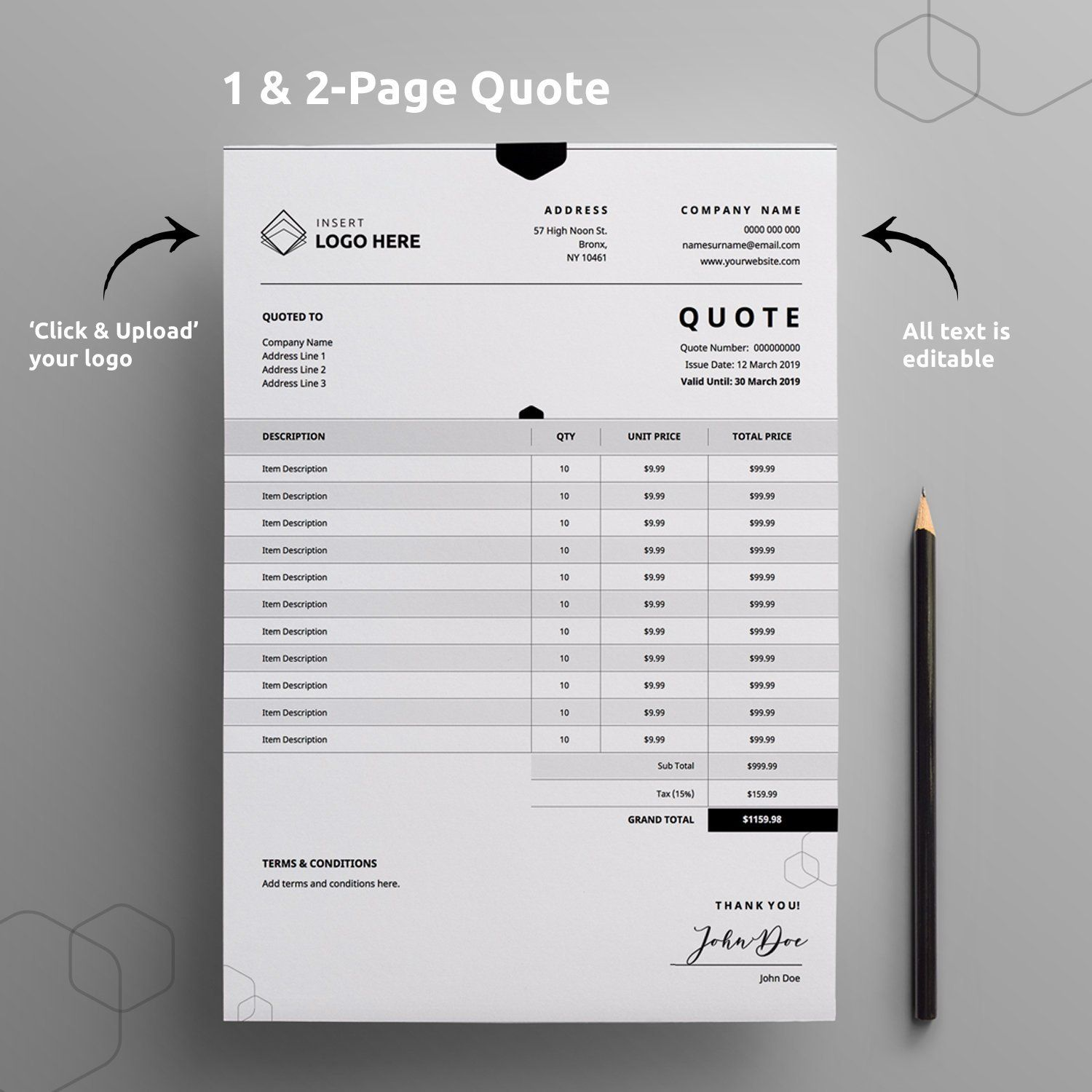 14 Printable Quotation Template Ideas Templates Quotations Quote Template