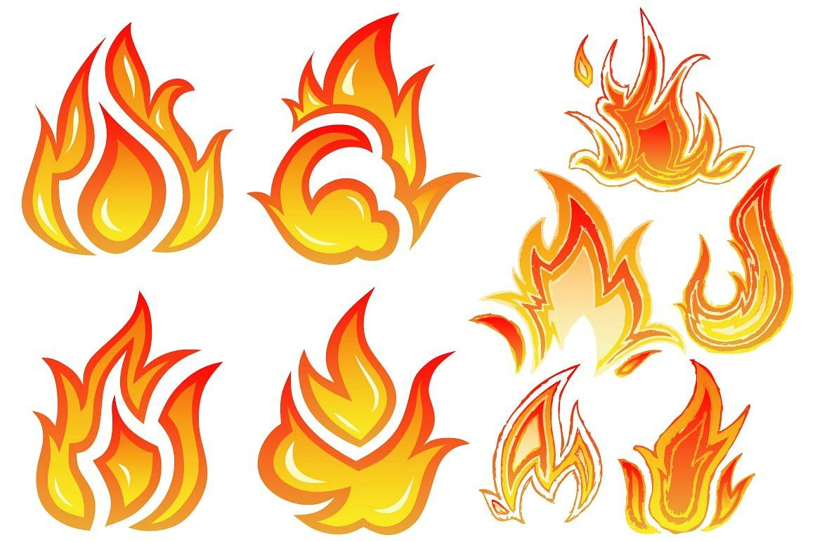 Set of flame fire and sun styledoodlestylesAI