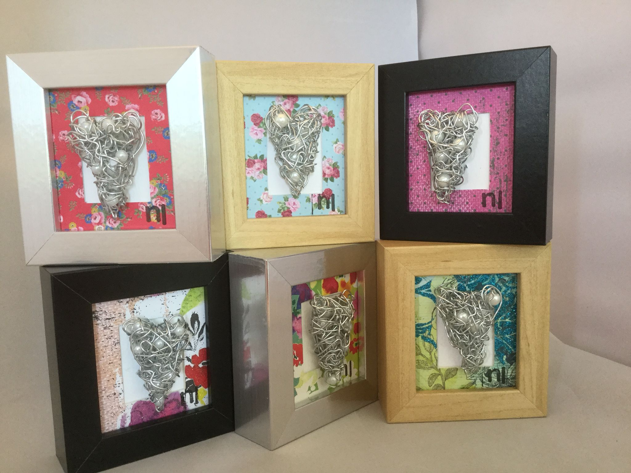 Wire hearts with pearls in boxed frame | Metal | Pinterest