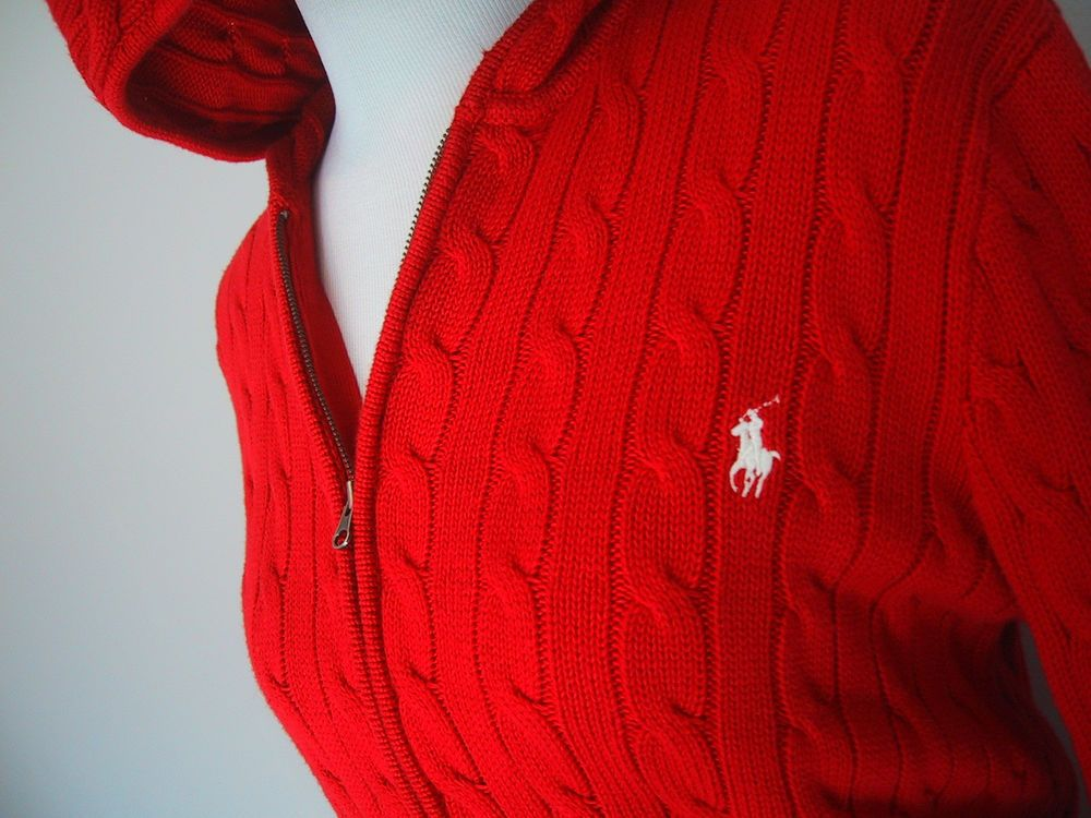 RALPH LAUREN Sport Hoodie Solid Red Cotton Cable Knit Zip Up ...