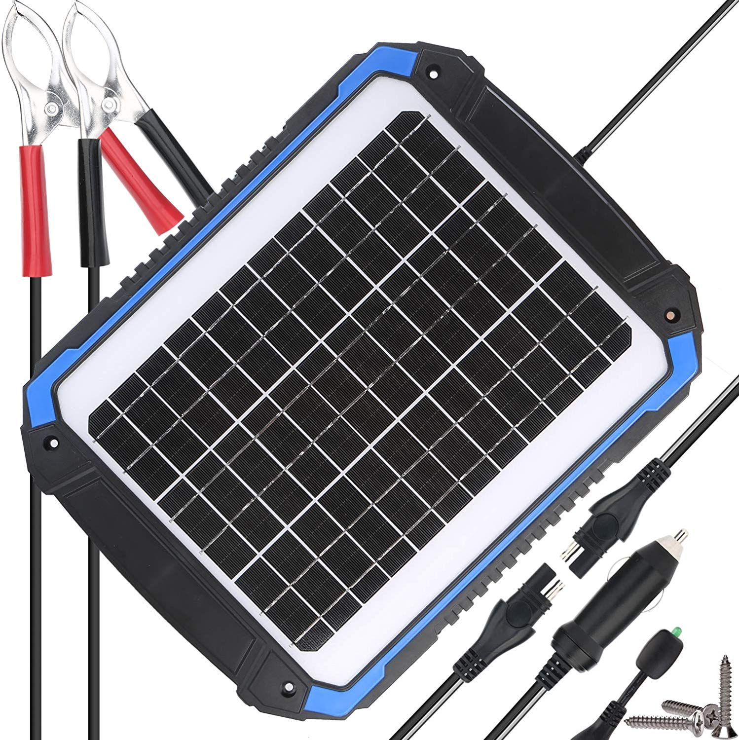 Suner Power 12v Solar Car Battery Charger And Maintainer Portable 14w Solar Panel Trickle Charging Solar Power Battery Charger Solar Car Car Battery Charger