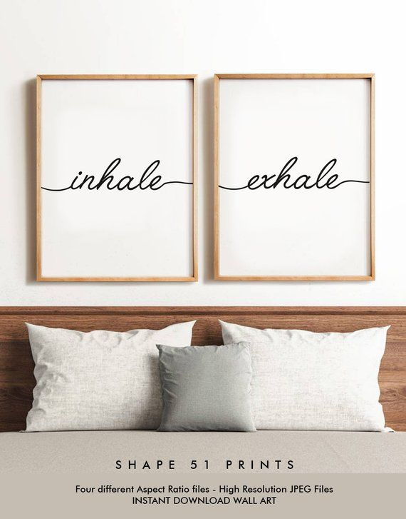 Inhale exhale, set of prints, inhale exhale poster, yoga print, pilates gift, relaxation print, inhale exhale sign, yoga poster, pilates art