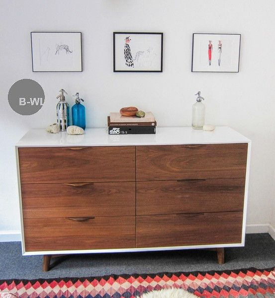 White and wood bureau like how this is a low rectangle but still