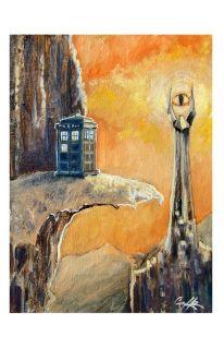 "Doctor Who/ Lord of the Rings funny art print on artmonkeyworld.com, ""Volcano Day"" 11x17 #art #print #doctorwho #lotr #tardis"