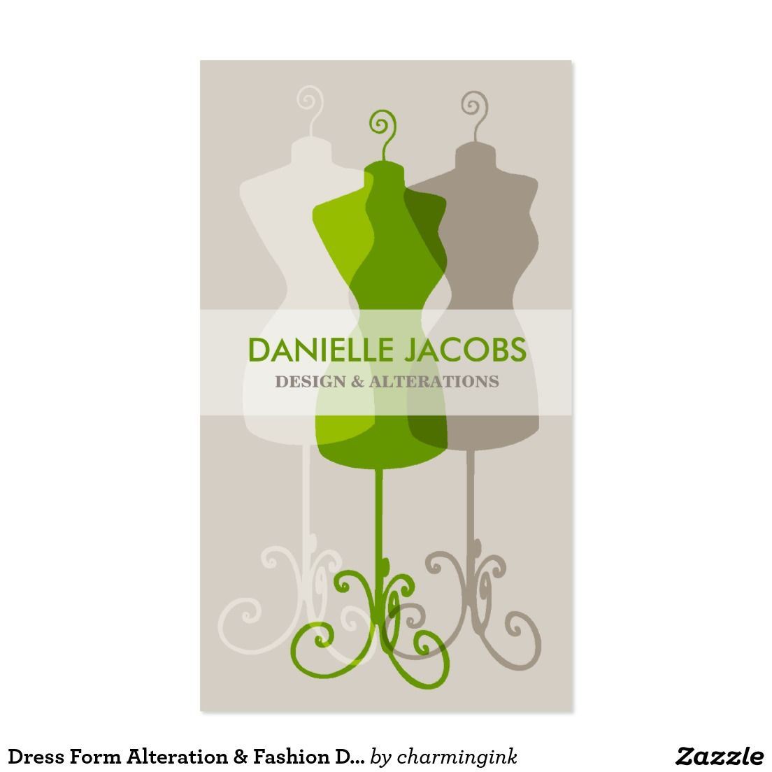 Dress Form Alteration & Fashion Design Card green | Business Cards ...