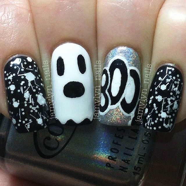 I am bringing before you 18 Halloween ghost nail art designs, ideas, trends  & stickers of Draw the ghost faces in white or black colors on your nails  and - Halloween By Jamylyn_nails #nail #nails #nailart Finger And Toe