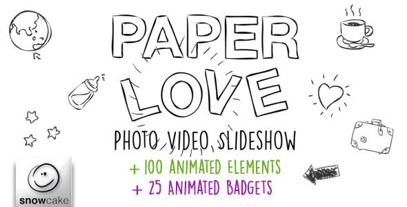 Paper Love Photo Video Slideshow (After Effects Project Files, Video Displays, Special Events)