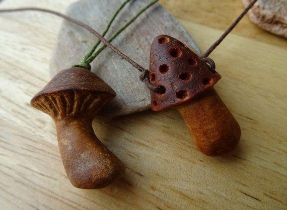 be0f6fe08792e Mushroom pendant, avocado stone carving, boho natural jewelry, hand ...