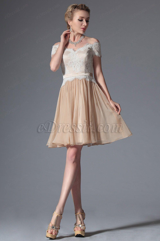 eDressit 2014 Neu Champagn Ab Schulter Cocktail Kleid Party Kleid ...
