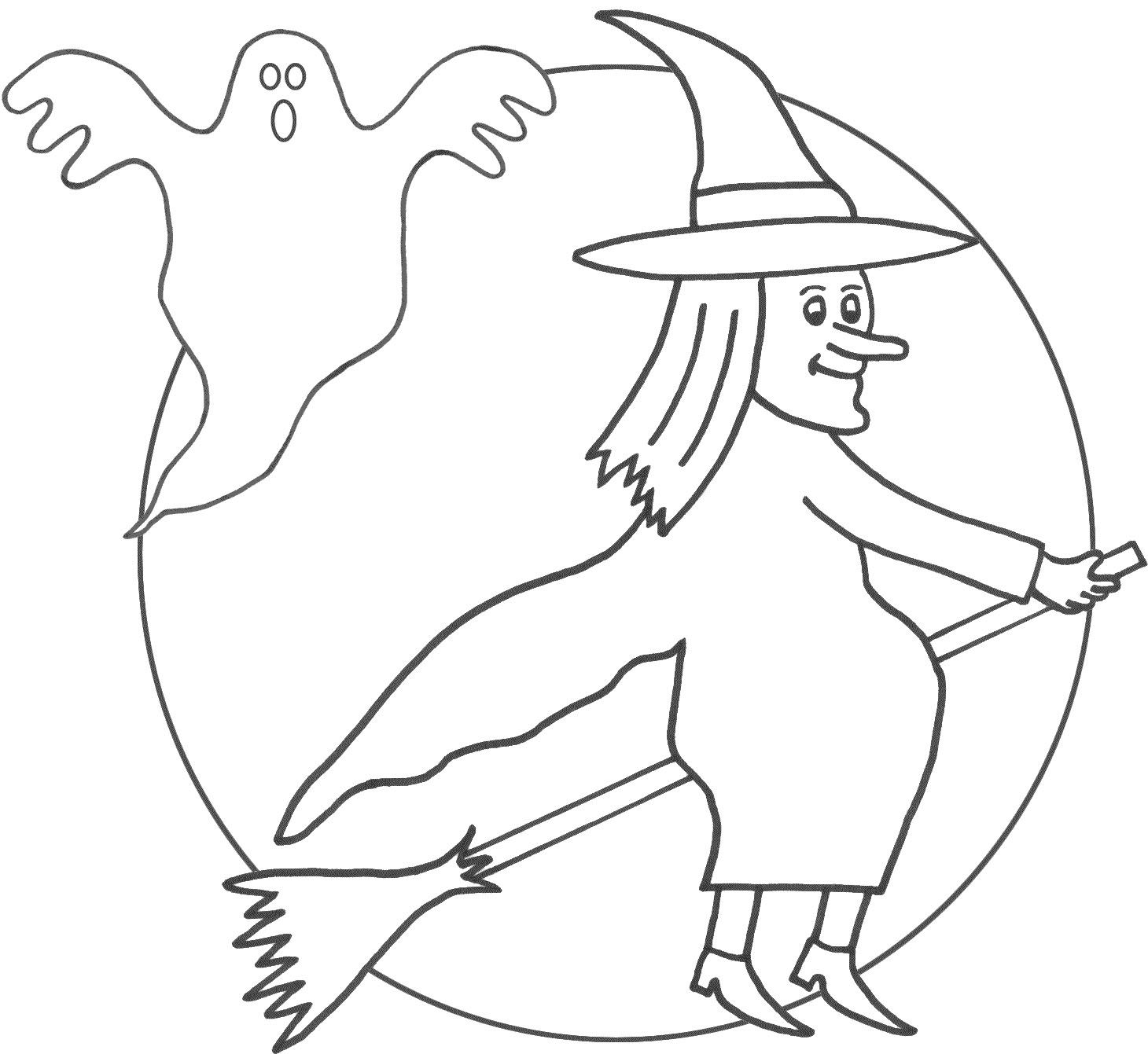 I Have Download Witch And Ghost Spooky Coloring Page Witch