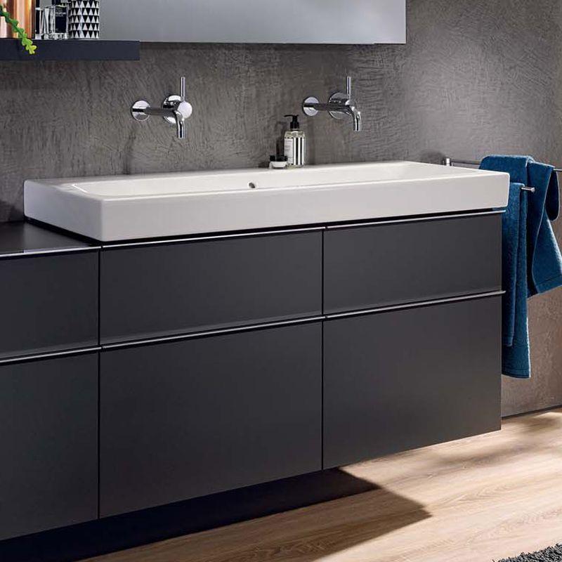 keramag icon waschtischunterschrank mit mittigem siphonausschnitt f r doppelwaschtisch front. Black Bedroom Furniture Sets. Home Design Ideas