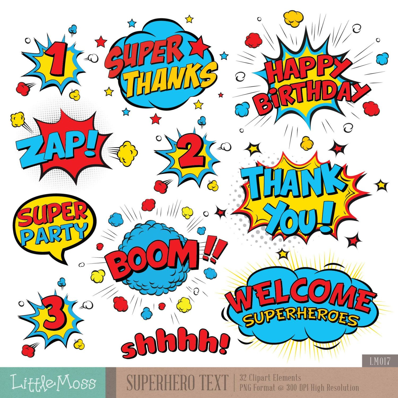 Superheroes Pop Art Text and Bubbles Clipart / Super hero Text and ...