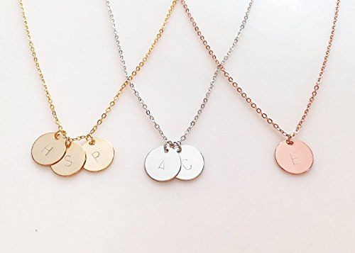 A delicate initial disc necklace rose gold initial necklace best a delicate initial disc necklace rose gold initial necklace best friend gift personalized bridesmaid aloadofball Gallery