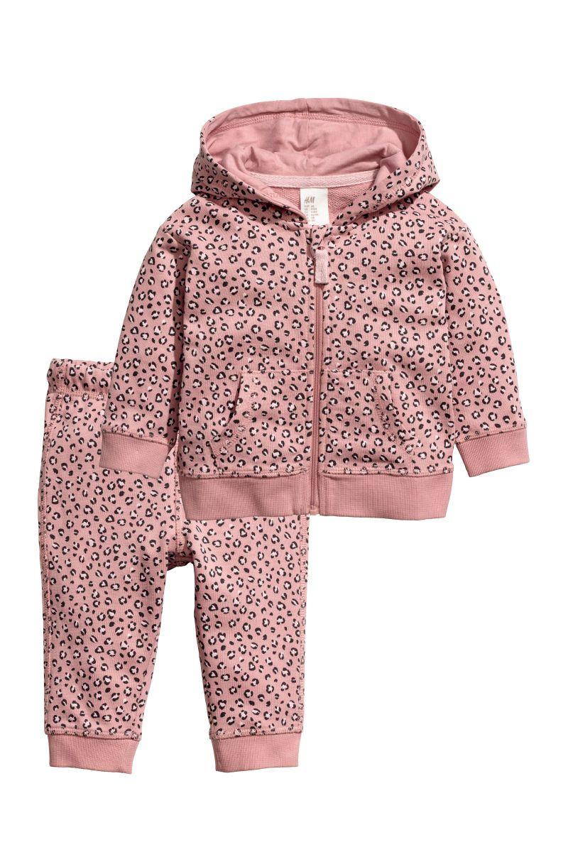 abc0de67be7b Hooded Sweatshirt and Joggers   Powder pink/leopard print   KIDS   H&M