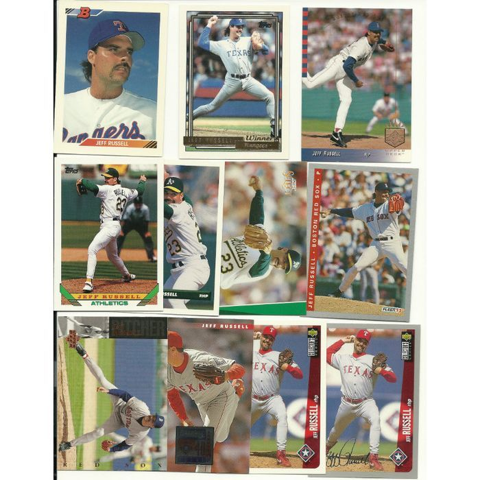 HUGE Different 55 + JEFF RUSSELL cards lot 2 RC 1984 - 1996 Rangers Sox Reds A's