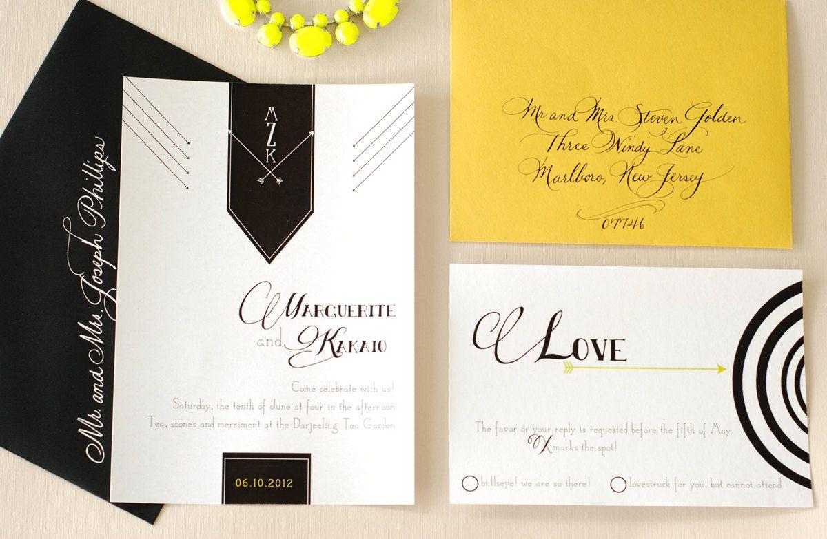 Arrow trend even on wedding invites....Archer Wedding Invitation ...