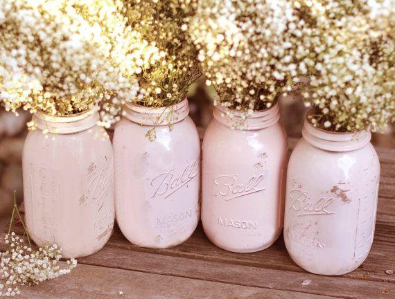 Shabby Chic Weddings Mason Jars Distressed Paint Gl Jar Wedding Decoration Centerpiece In Pink