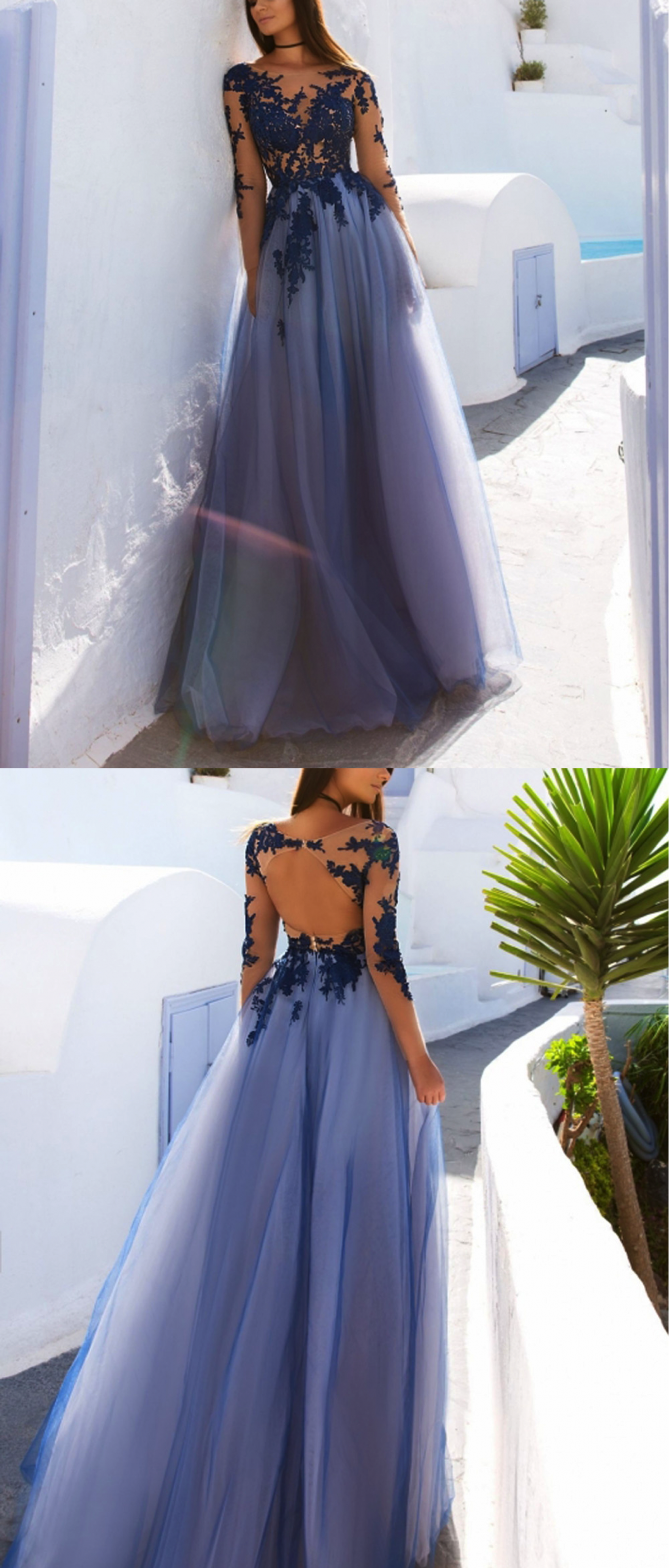 Charming long prom dress applique tulle long sleeve aline formal