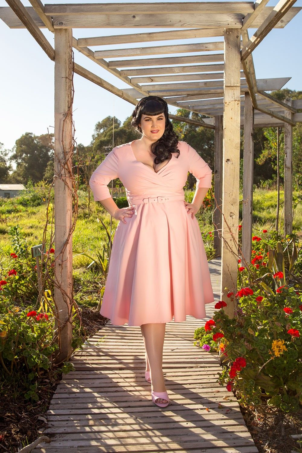 Baby pink plus size dress Pinup Couture Plus Size Erin Swing Dress in Baby Pink  beauty
