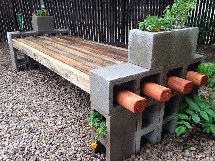 gartenbank mit pflanzk beln aus beton selber bauen spielplatz pinterest pflanzk bel. Black Bedroom Furniture Sets. Home Design Ideas