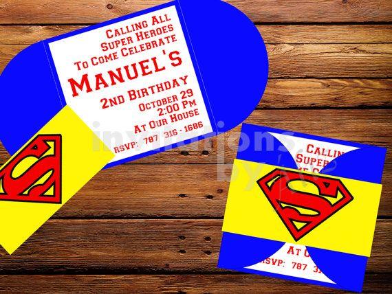 Invitación Superman Hecha A Mano Por Invitationsbyaliz En