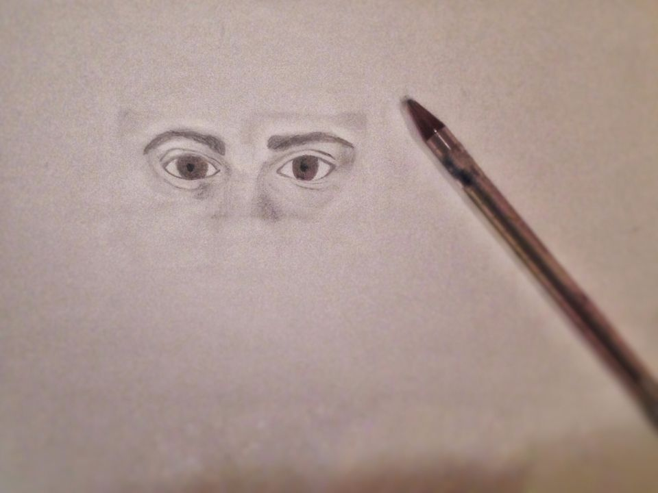 eyes are the window to the soul / brown eyes art pencil drawing draw sketch portrait mixed media paper eye big